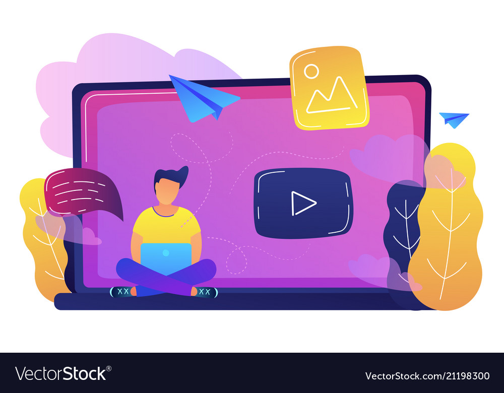 Online network and web media concept vector image