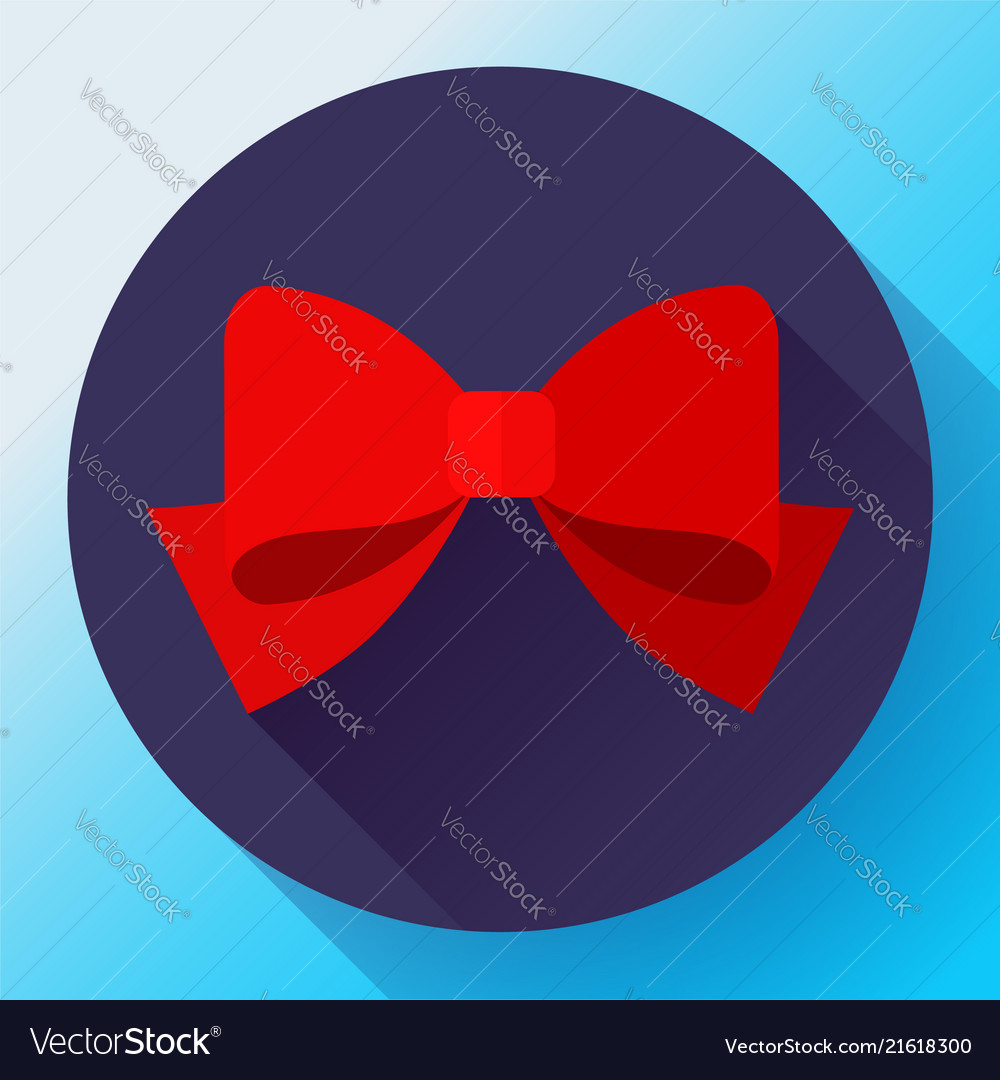 Red bow icon flat red bow