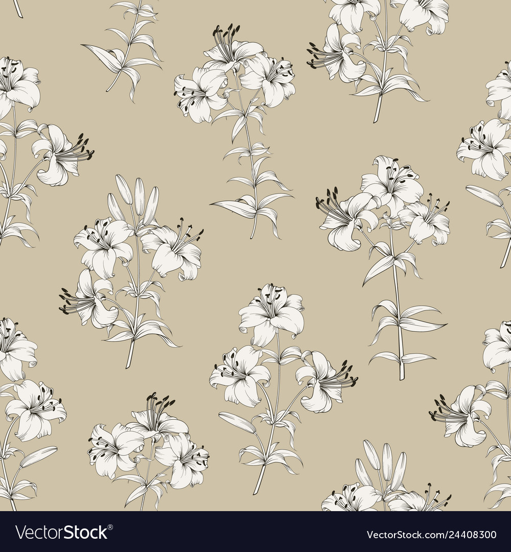 Seamless pattern of lily flowers floral