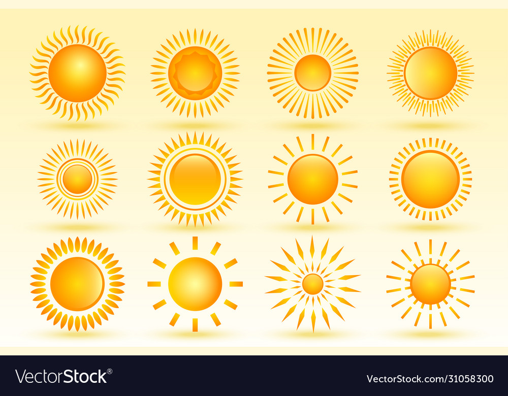 Set tweleve shiny sun in different shapes