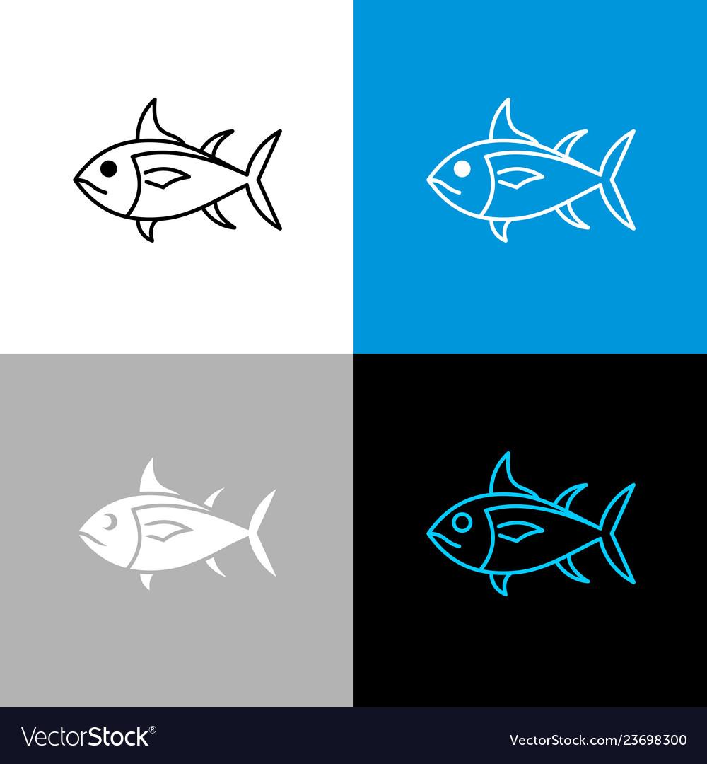 Tuna fish icon line style symbol of tuna