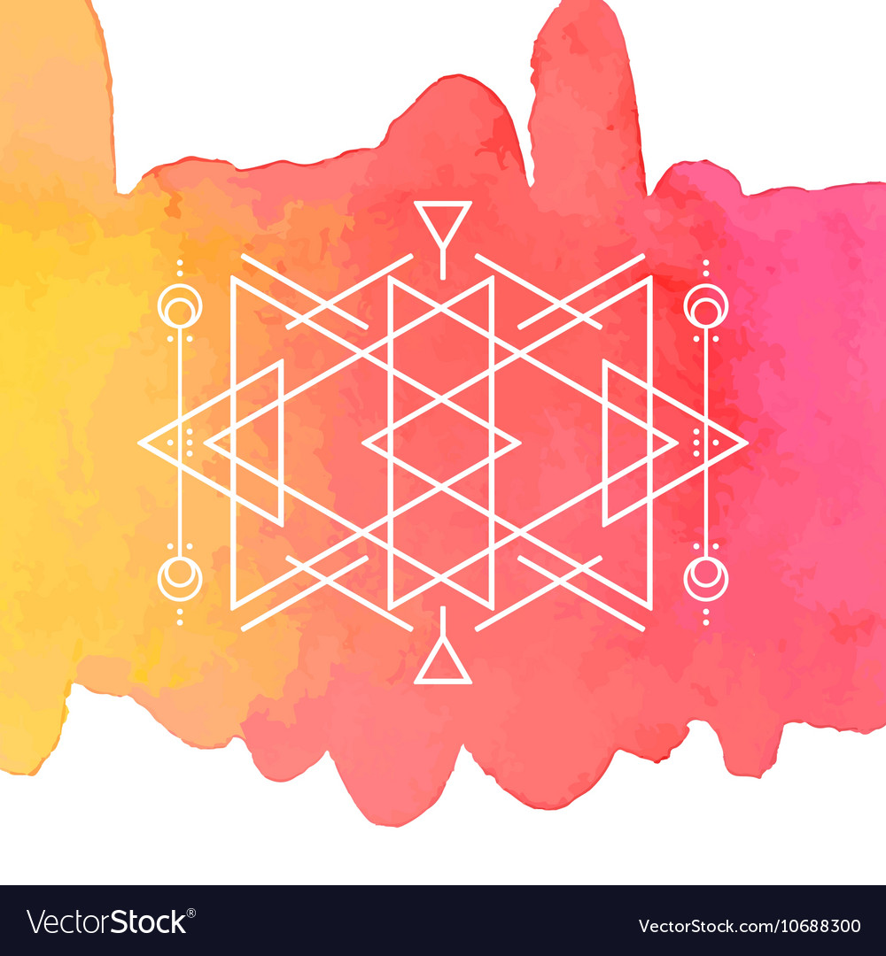 Watercolor and Geometry Background