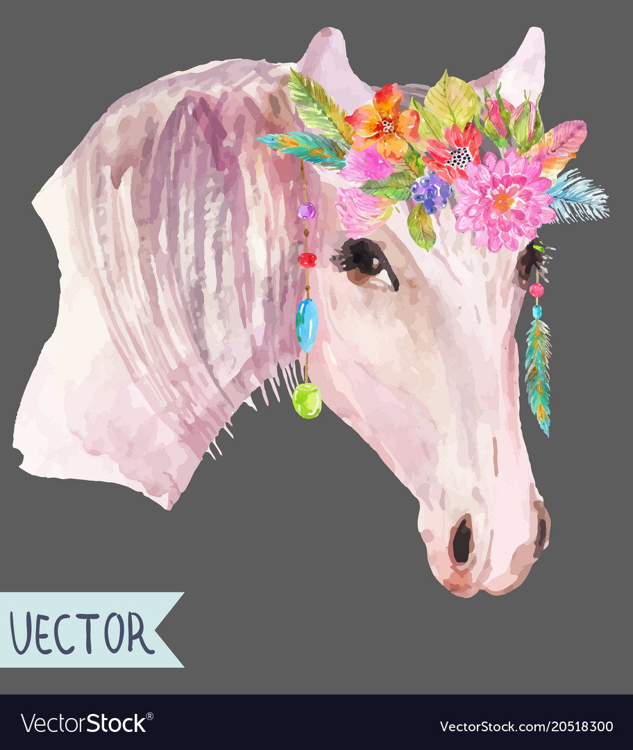 Watercolor horse head over white
