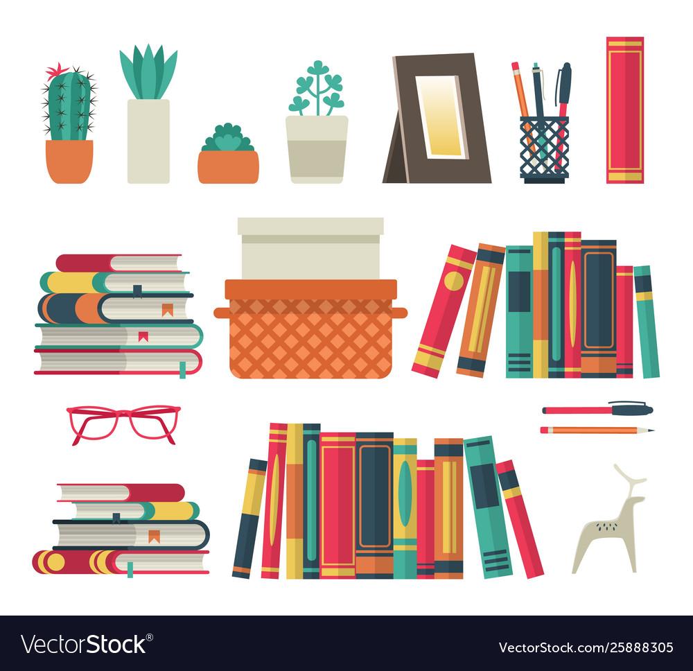 Bookshelves set flat shelf book in room library