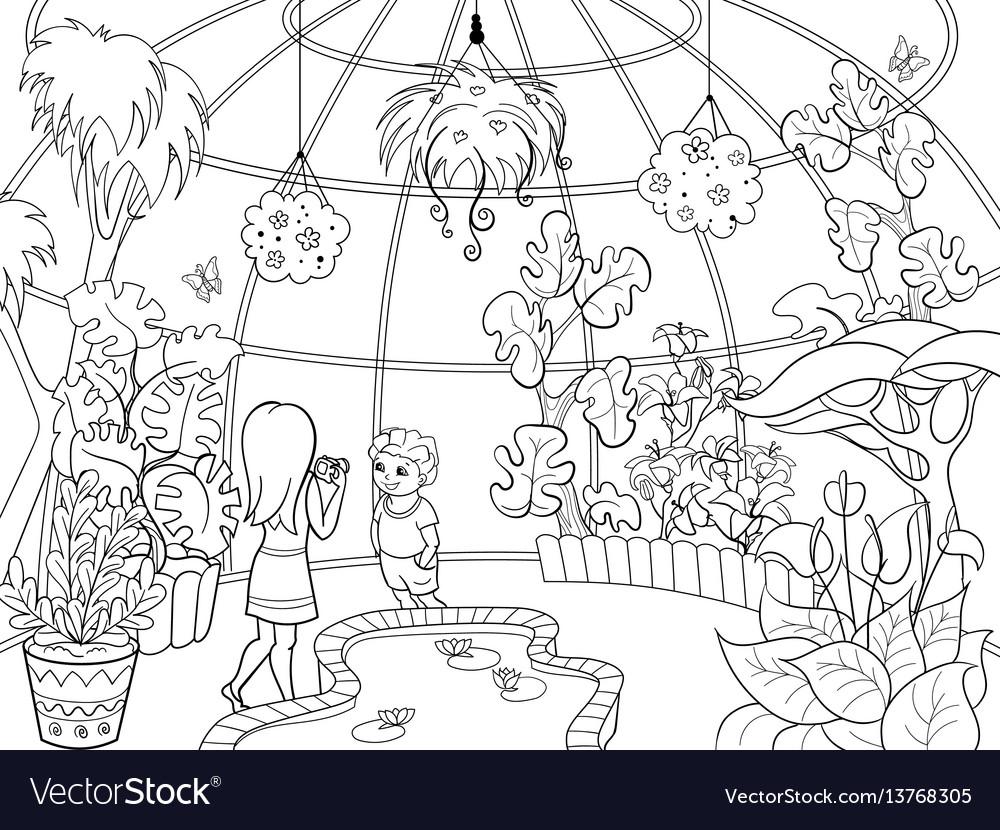 Botanical garden cartoon vector image