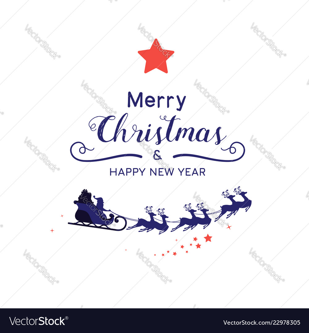 Christmas Santa Sleigh Reindeer Decoration  from cdn1.vectorstock.com