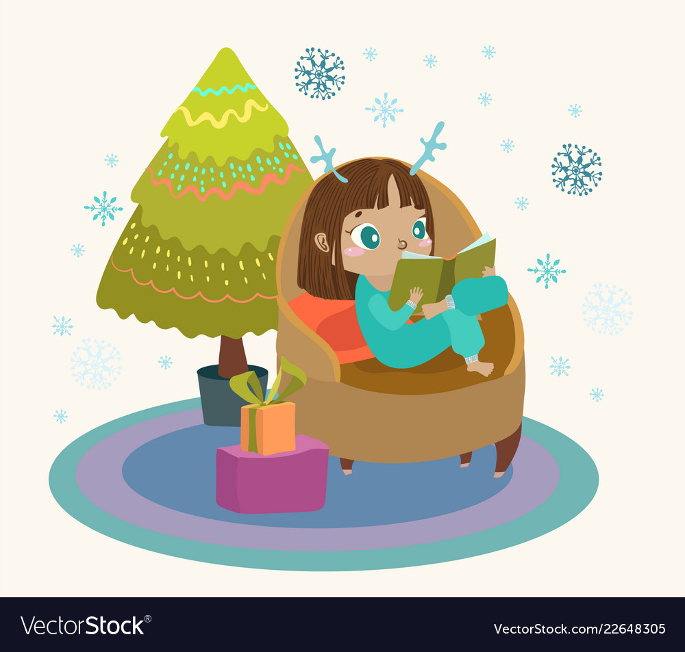 Cute child reading a book in a large armchair a