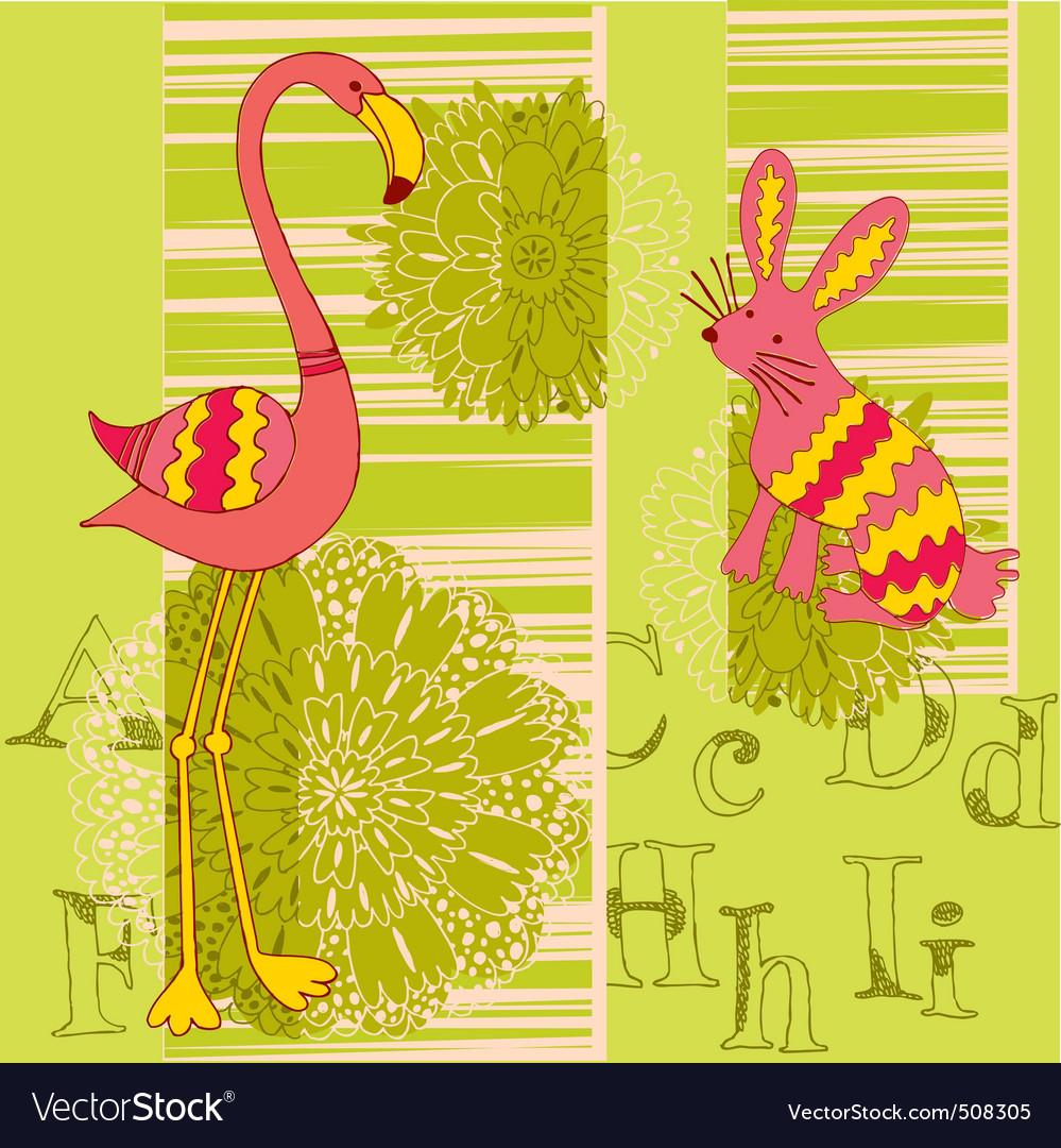 Flamingo and rabbit vector image