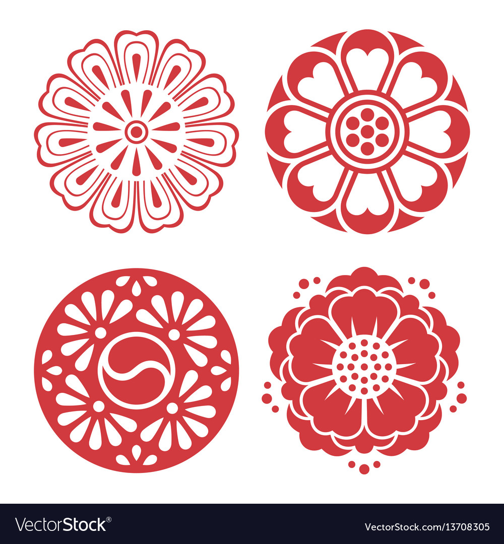 Korean traditional design elements vector image