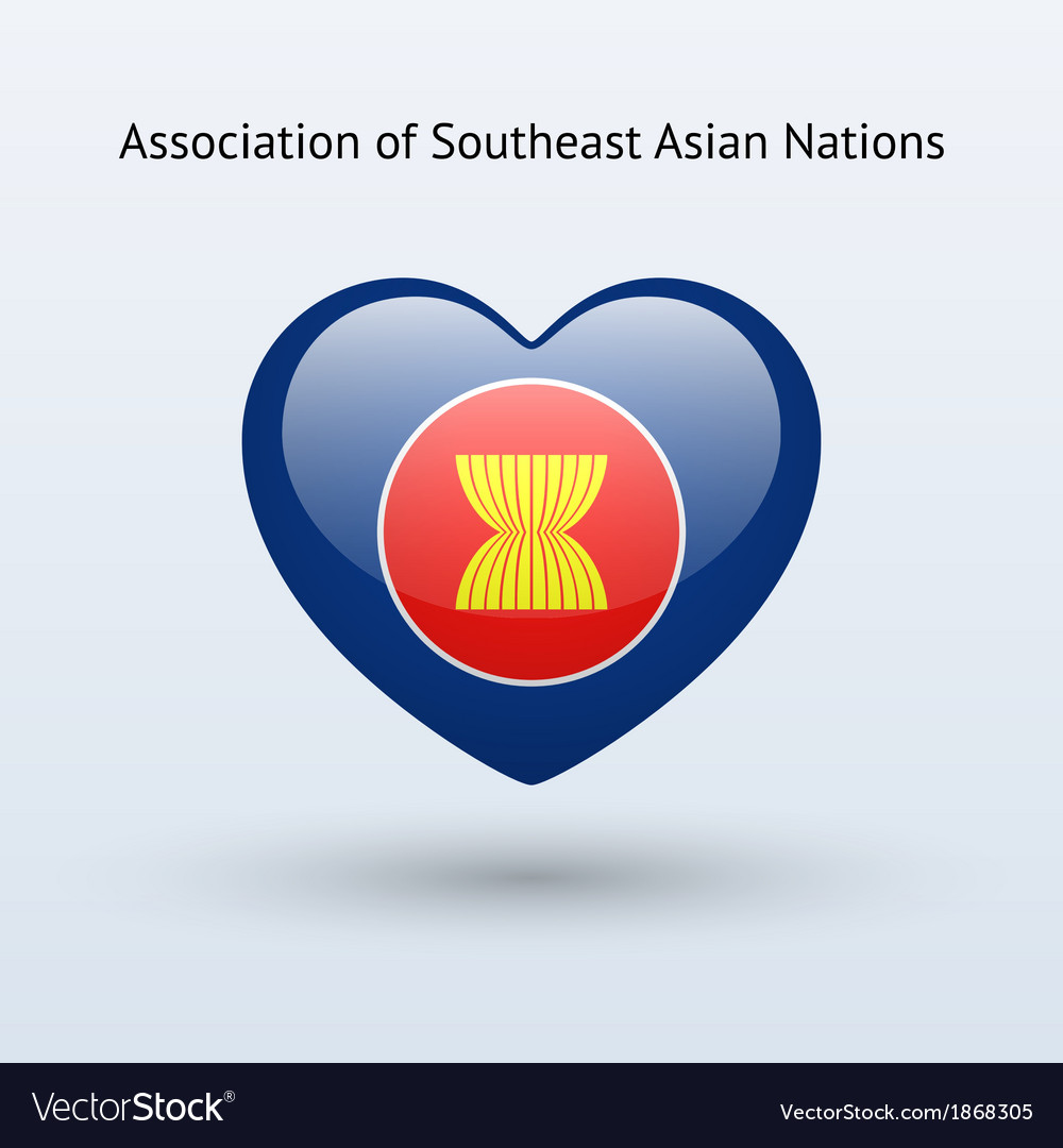 Love Association of Southeast Asian Nations symbol vector image