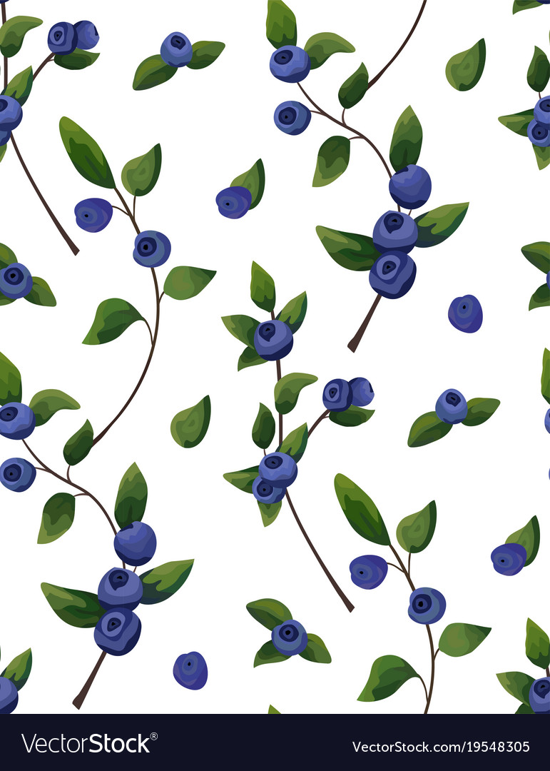 Natural seamless pattern of blueberry branches
