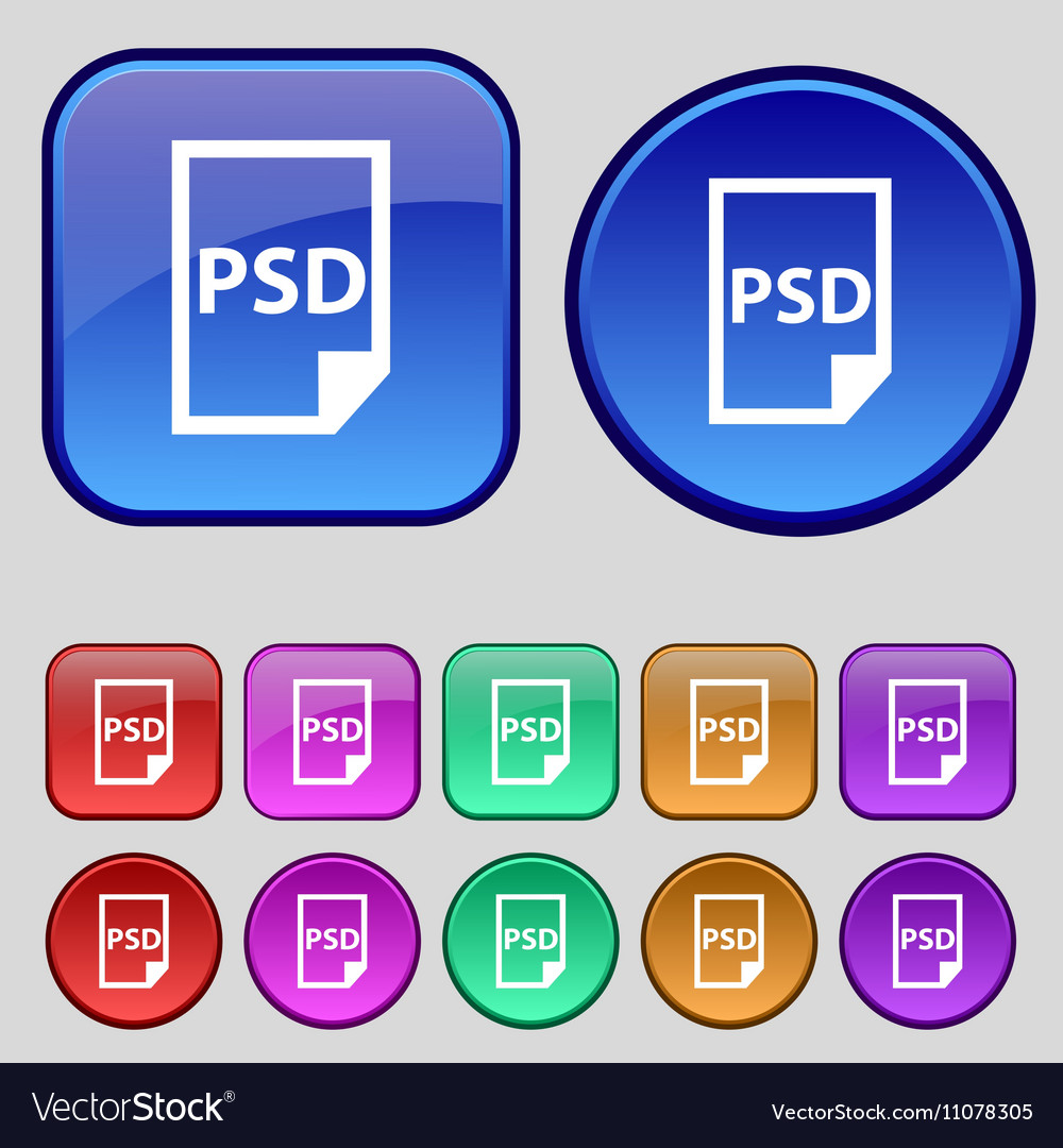 PSD Icon sign A set of twelve vintage buttons for