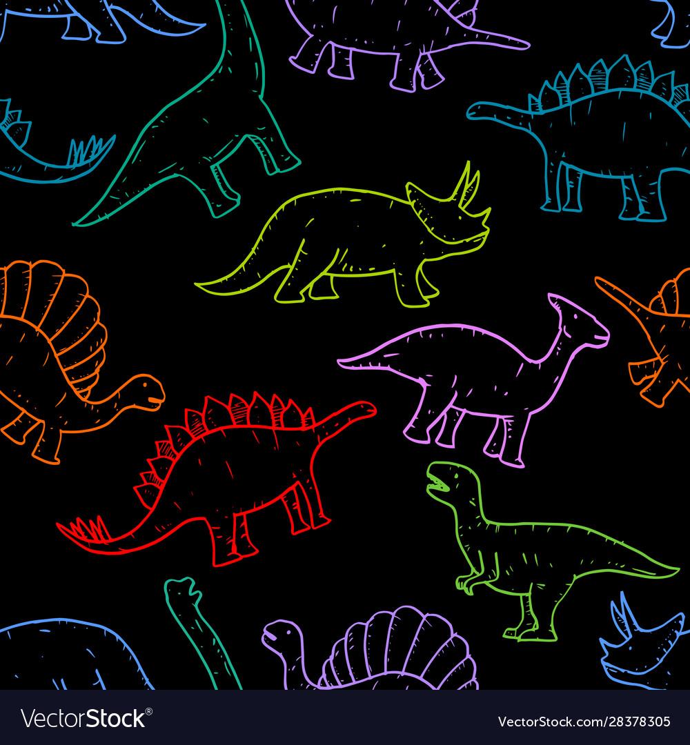 Seamless pattern hand drawn doodle dinosaur