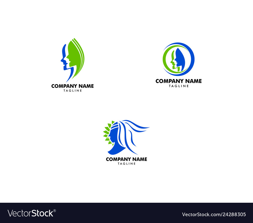 Set of beauty women face silhouette character