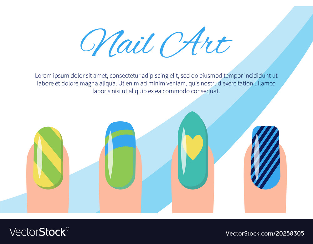 Set of color patterns on nails