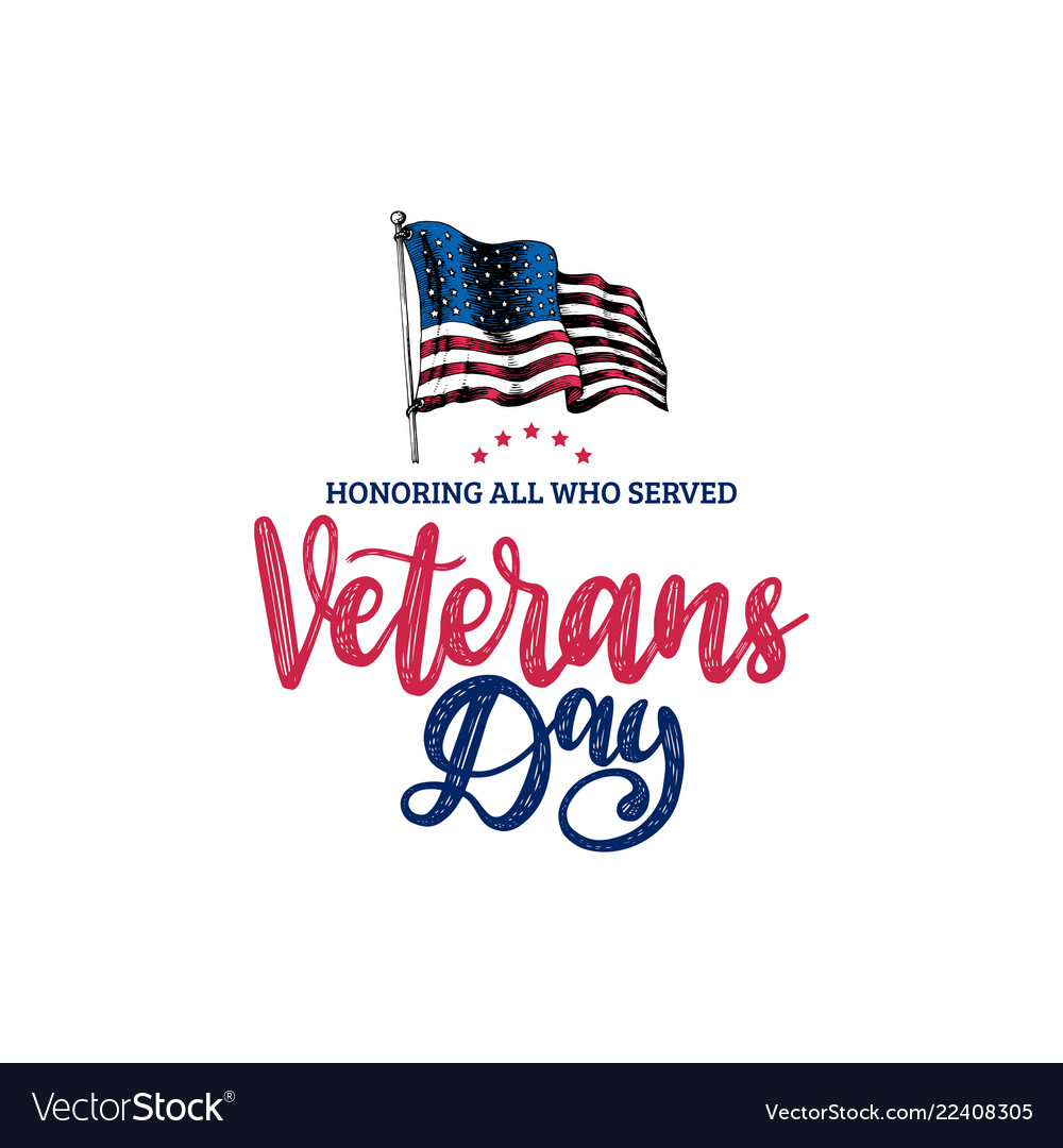 Veterans day hand lettering with usa flag