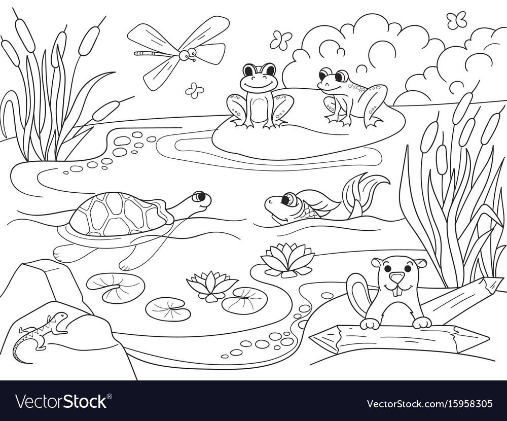 Wetlands animals vector images 63