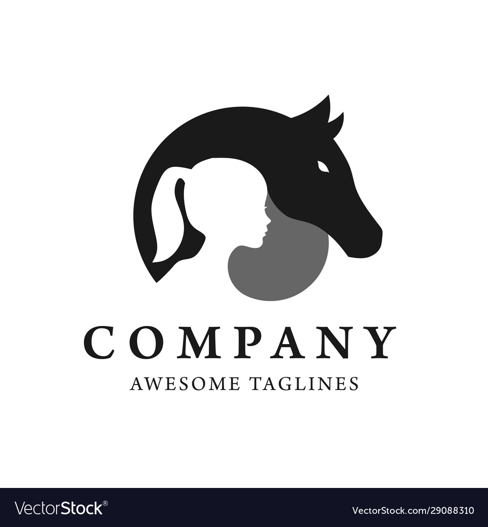 Child And Horse Silhouette Logo Royalty Free Vector Image