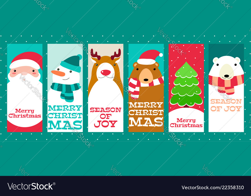 Collection of christmas banners with cute animals