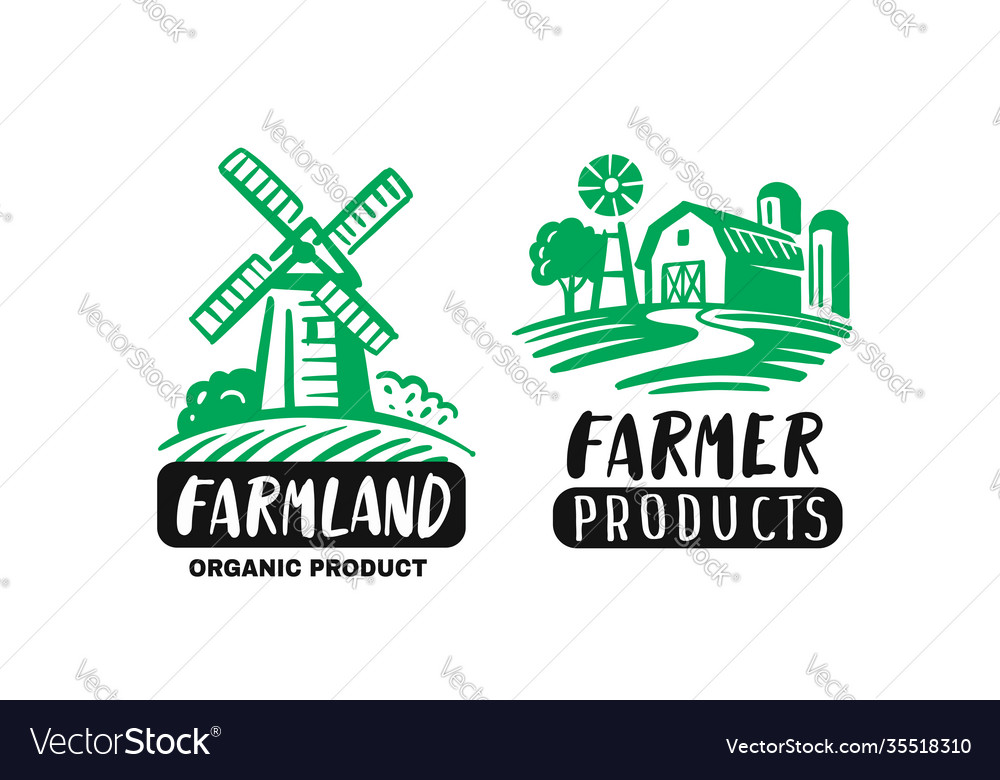 Farm emblems with mill and barn