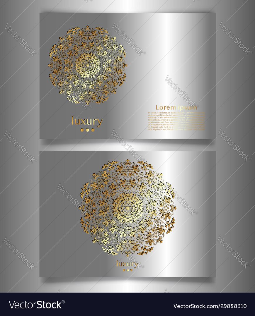 Golden luxury mandala logo template flyer cards