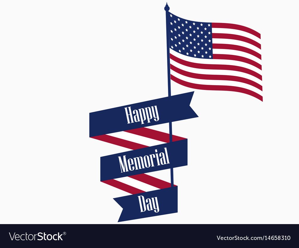 Happy memorial day ribbon with text and american