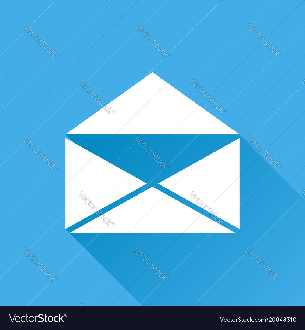 Mail envelope icon isolated on blue background