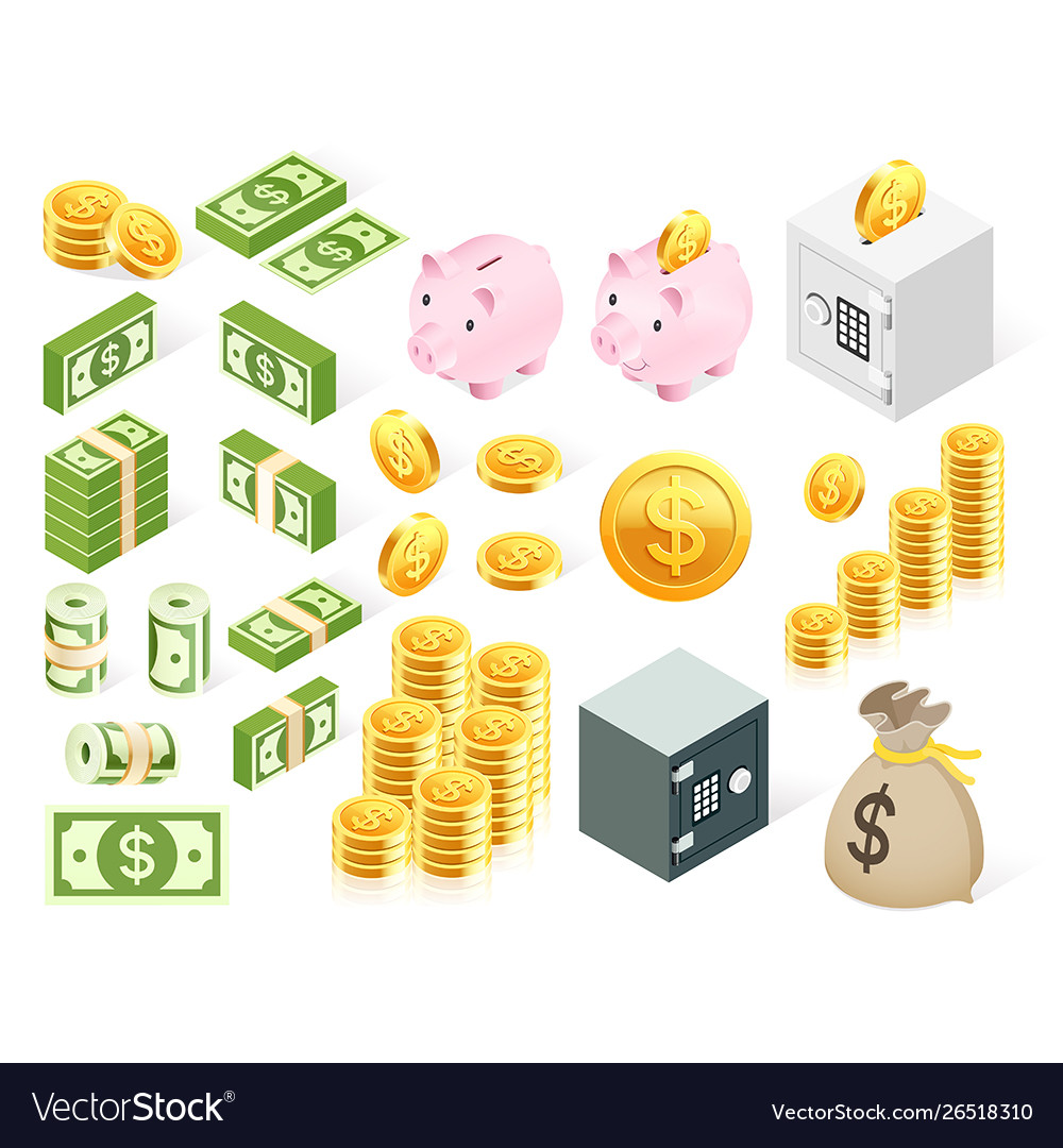 Set money icon symbol