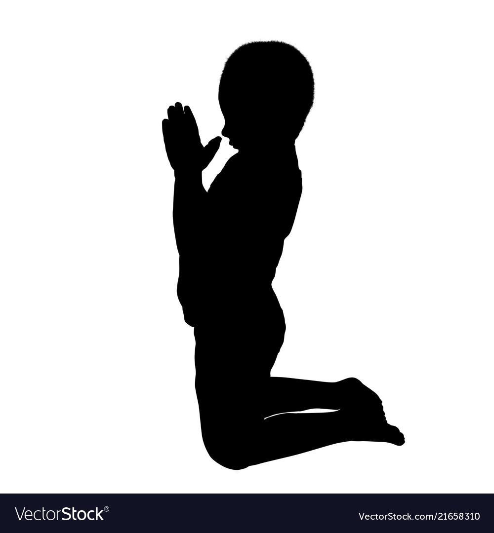 Silhouette of a boy who pray