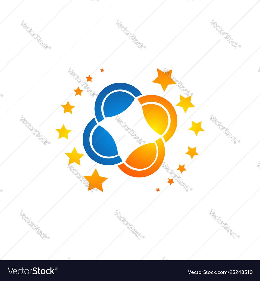 Stars logo made in trendy line stile space
