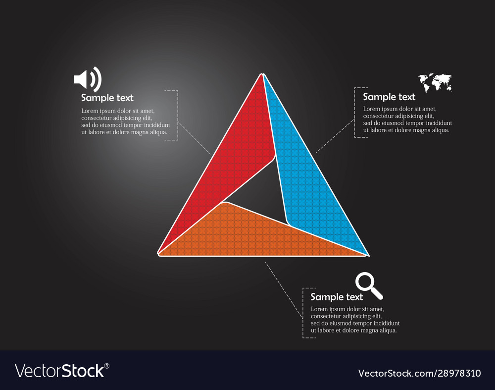Triangle infographic template consists three