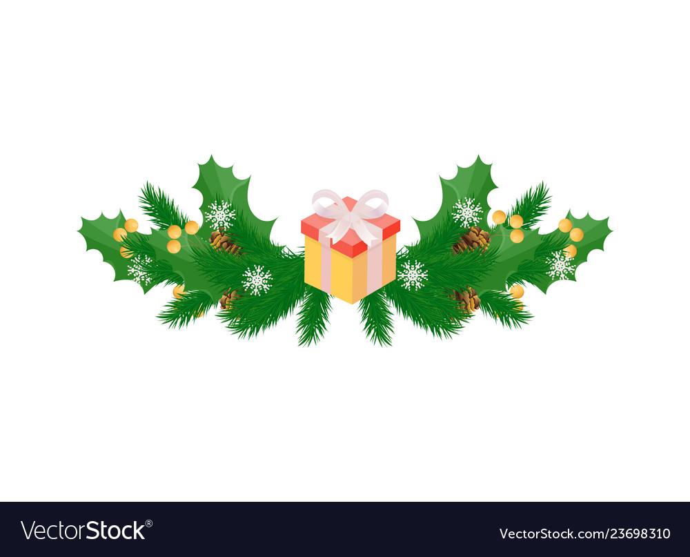 Winter holidays decoration with mistletoe leaves
