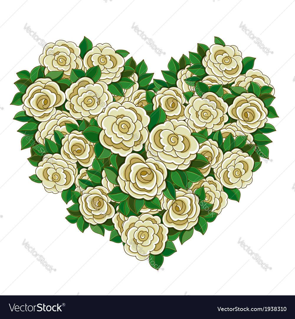 Wreath in the shape of heart of white roses vector image