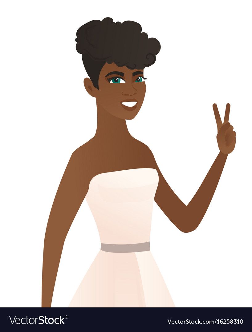 Young african fiancee showing the victory gesture vector image