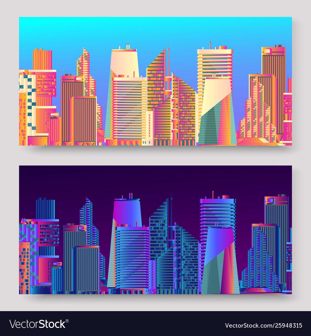 Abstract futuristic city skyscrapers