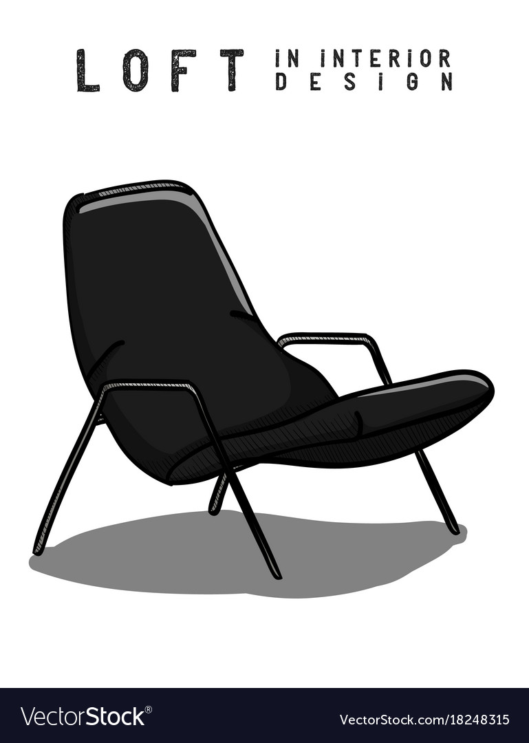 Armchair in gray and black color loft in interior vector image