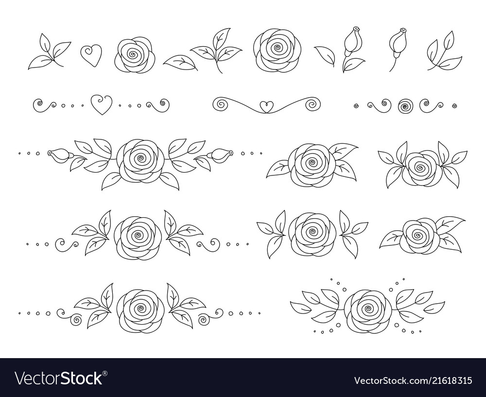 Art hand drawn set rose flower icons