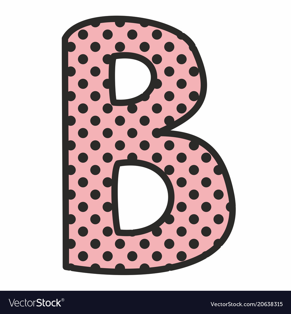 b alphabet letter with black polka dots on pink vector image