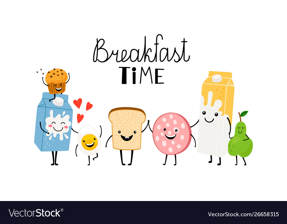 Brealfast time characters bread milk and food