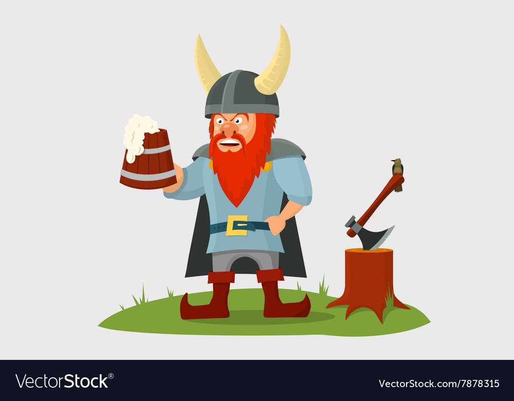 Cartoon viking with beer mug in hand