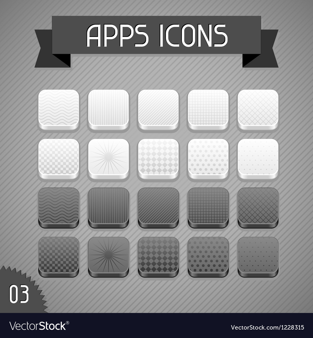 Collection of monochrome apps icons Set 3 vector image