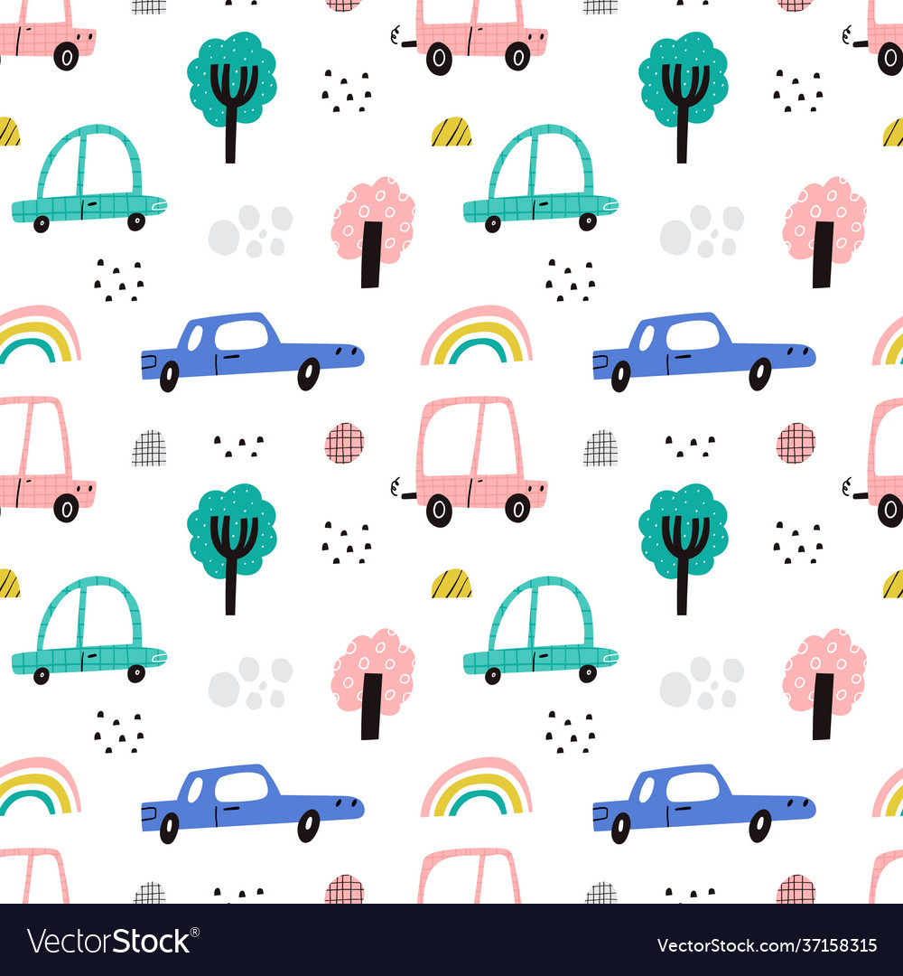 Cute kids cars seamless pattern fun