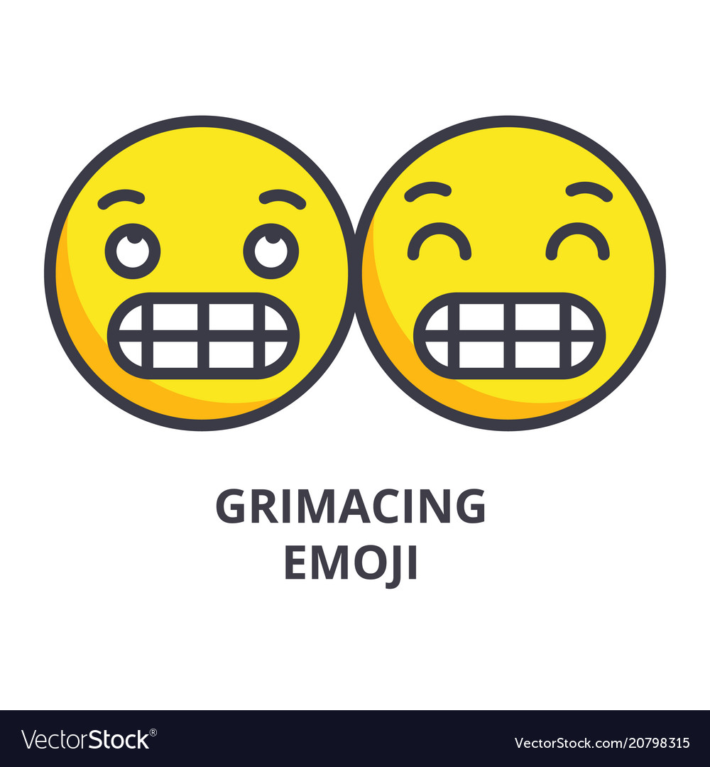 Grimacing emoji line icon sign
