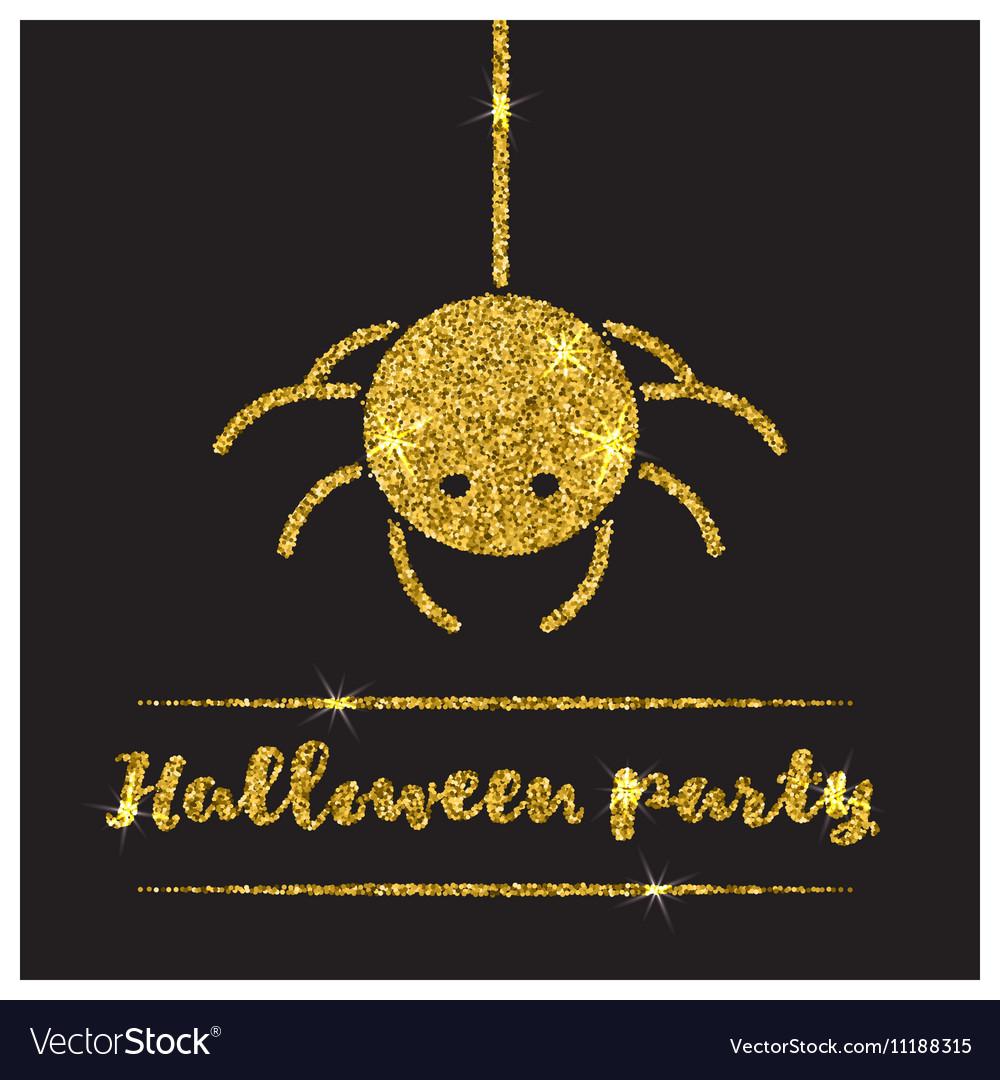 Halloween gold textured spider icon vector image