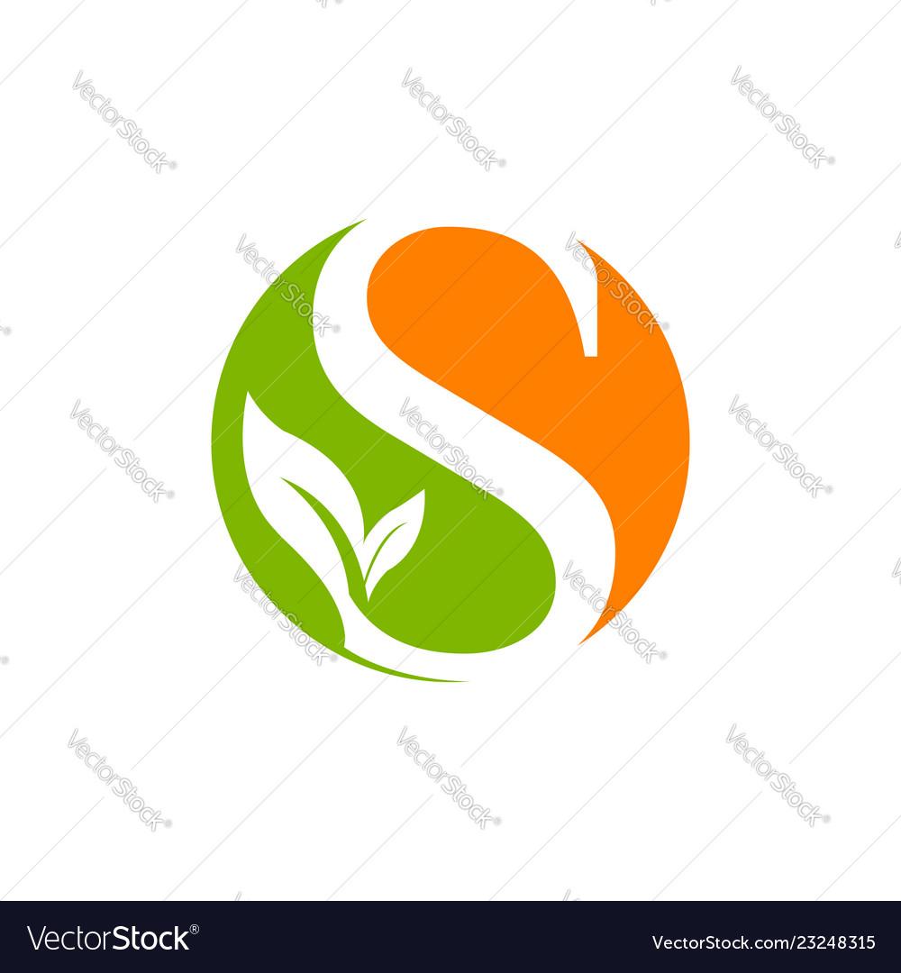 Letter s logo design template green leaf nature