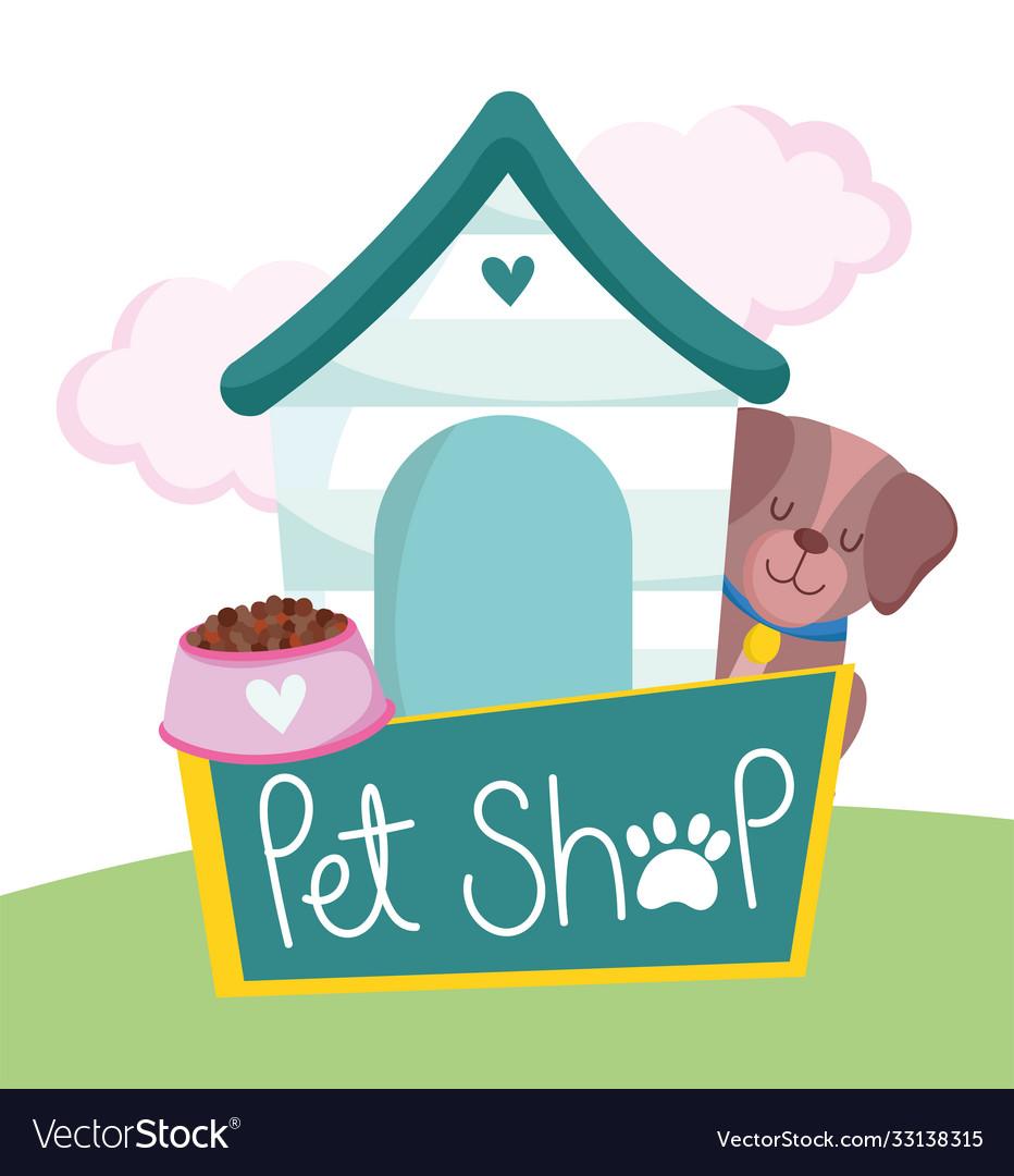 Pet shop cute dog animal house bowl food
