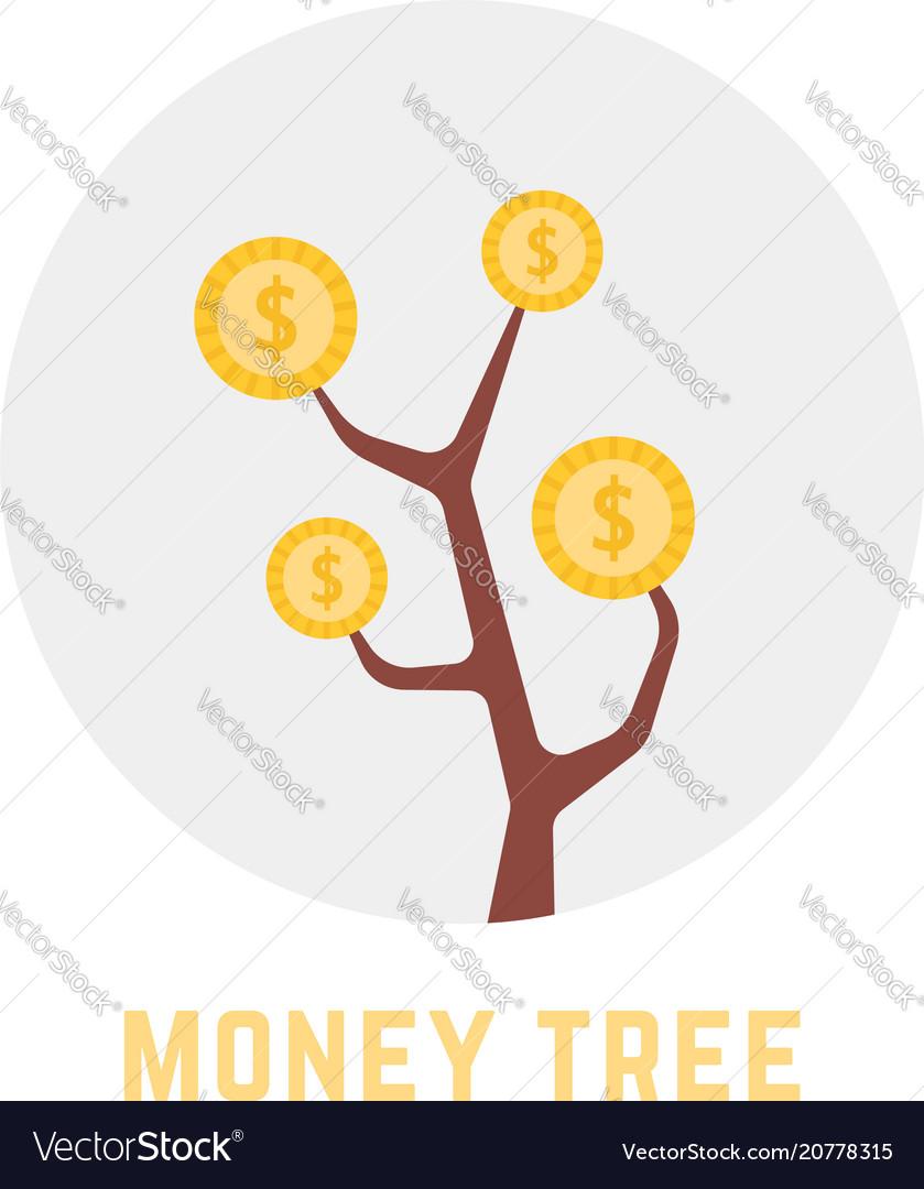 Round money tree logo isolated on white
