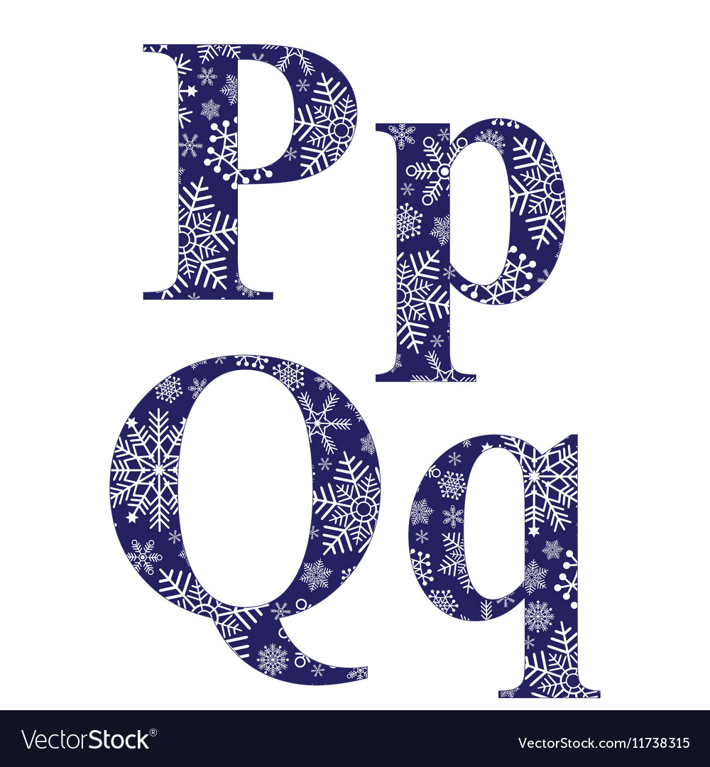 Uppercase And Lowercase Letters P Q Vector Image