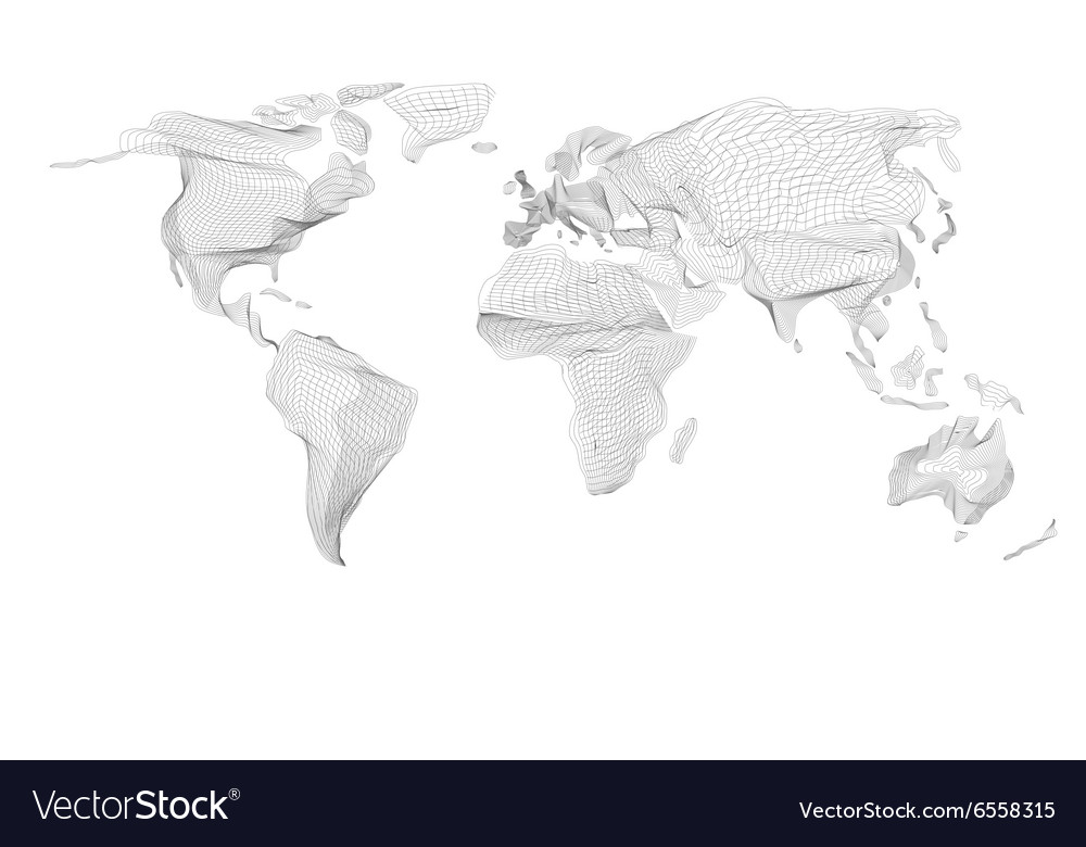 World map Abstract vintage computer graphic of