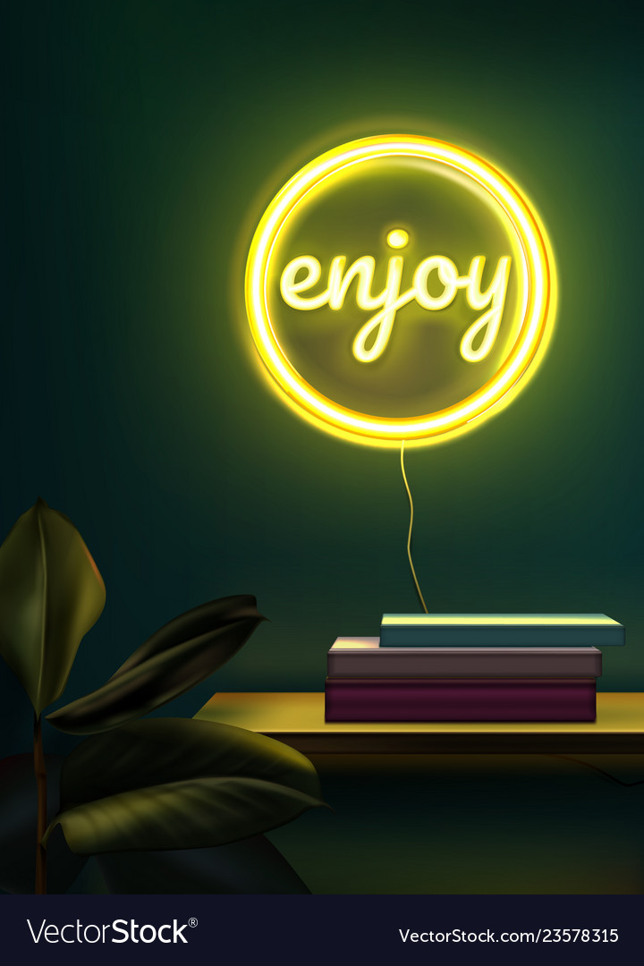 Yellow neon sign in